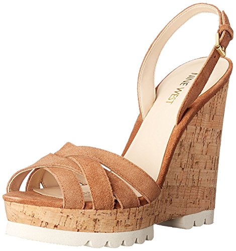 Nine West Women's Kindeyes Suede Wedge Sandal, Natural, 41.5 B(M) EU/8.5 B(M) UK