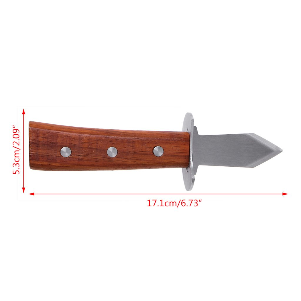 Simplelife Stainless Steel Open Shell Tool Wooden Handle Oyster Shucking Knives Brown 17.1cmx5.3cm