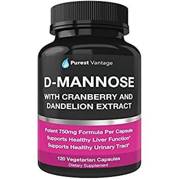 D Mannose Capsules with 600mg D-Mannose Powder Per Cap - with Added Cranberry and Dandelion Extract to Aid in Bladder, Urinary Tract Infection and UTI Support - 120 Veggie Caps