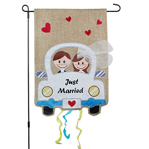 Just Married Banner, Garden Flag or Car Decoration - Bride a