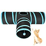 ASIV 3 Way Cat Tunne Collapsiblel, Pet 3 Way Tunnel with Ball Fun Play Toy for Cat,Rabbits, Kitty, Puppy