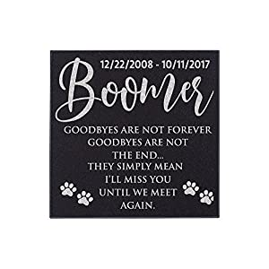 Pet Memorial Stone Personalized - Granite Cats and Dogs Grave Marker | 3 Size Options |Sympathy Poem, Loss of Dog Gift, Indoor - Outdoor Tombstone Headstone - Grave Marker w/Pet Name and Dates 3