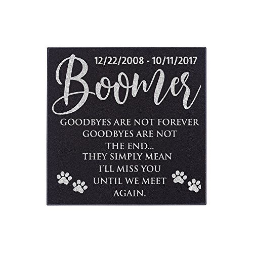 Pet Memorial Stone Personalized - Granite Cats and Dogs Grave Marker | 3 Size Options |Sympathy Poem, Loss of Dog Gift, Indoor - Outdoor Tombstone Headstone - Grave Marker w/Pet Name and Dates