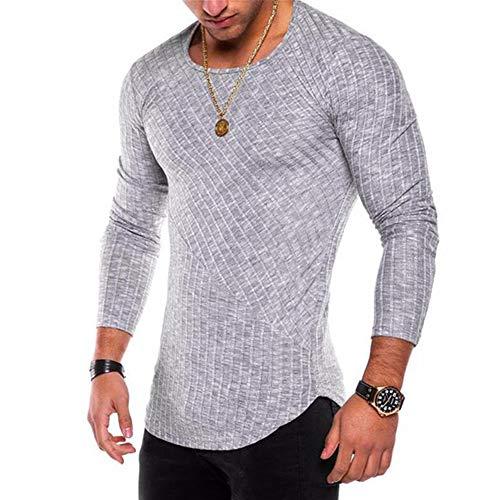 OGOUGUAN Men's Hipster Sweatshirt Swag Hip Hop Shirts O Neck Side Split Arc-Shaped Hem (Light Grey, XL)