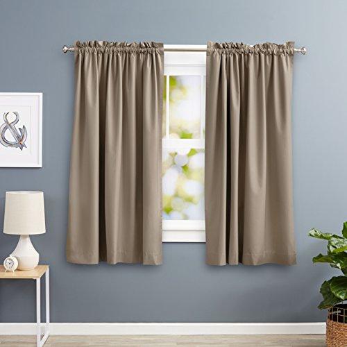 """AmazonBasics Blackout Curtain Set - 52"""" x 63"""", Taupe"""