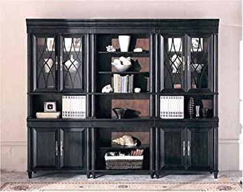 Amazon Com Black Bookcase Wall Unit Home Office Library