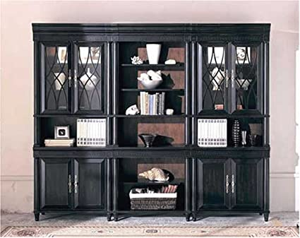 Black Bookcase Wall Unit Home Office Library Cabinet Furniture