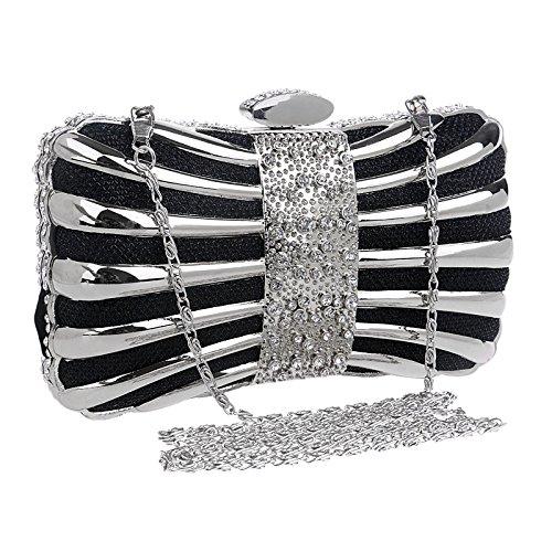 Métal Main Sac Diamond Party À Prom Dames Black Bow Robe Soirée Banquet Mariage Pochette wA4HqHT7