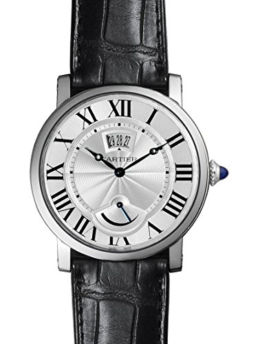 Cartier Rotonde Silver Dial SS Black Leather Automatic Men's Watch W1556369