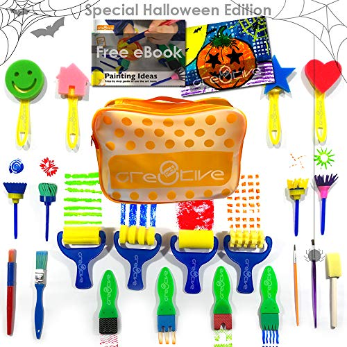 Cre8tivePick kids art & craft 21 pieces of fun painting drawing tools for kids. E-book guide step by step on how to use. Early learning kids painting set, sponge brush, flower pattern brush, Brush set - Flower Patterns Paint