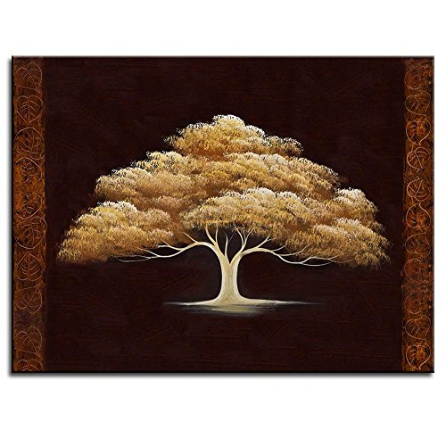 BPAGO Golden Luky Tree Canvas Paintings Wall Art Landscape Fantasy Canvas Paintings Modern Oil Painting Effect Ready to Hanging 24x16 inch