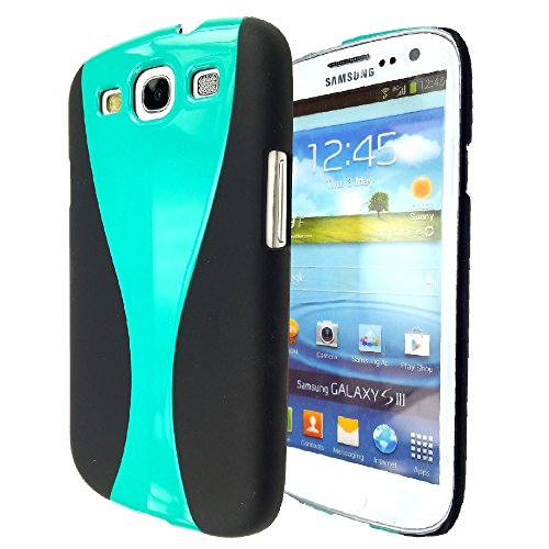 ng Galaxy S3 SIII i9300 - Thin Hard Curve Wave Two- Tone Hard Slim Case Cover - Teal on Black ()