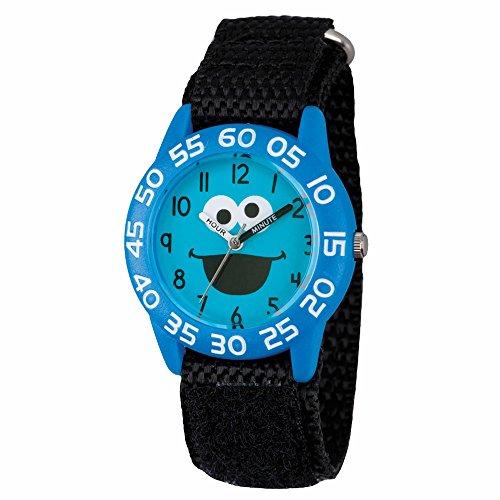 sesame-street-cookie-monster-kids-acrylic-case-black-nylon-velcro-strap-time-teacher-watch