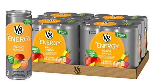V8 +Energy, Juice Drink with Green Tea, Peach Mango, 8oz. Can (4 packs of 6, Total of 24) (Best Energy Drink For Running)