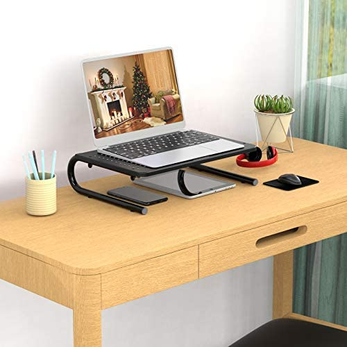 ERGO TAB Monitor Stand Riser with Vented Metal for Computer, Laptop, Notebook, Printer, Ergonomic 14.5 Platform 4 Inch Height (EBLL2)