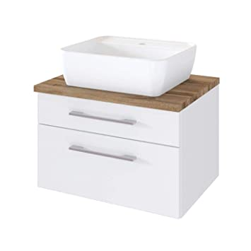 Lomadox Badezimmer Waschtisch matt weiß mit Unterschrank 60 ...