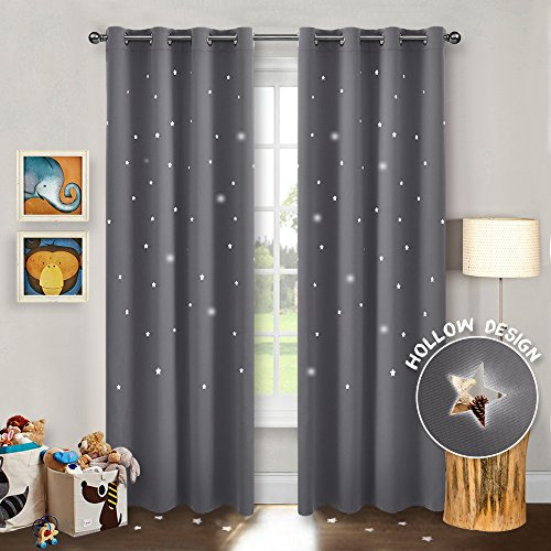 (PONY DANCE Blackout Curtain Panels - Grommet Top Romantic Cute Stars Cut Out Star Hollow Out Curtains/Window Treatments Night Starry Sky for Bedroom, Wide 52