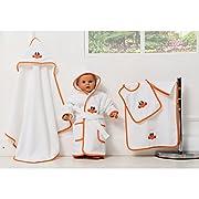 5 Pieces Baby Bathrobe / Bathroom Set   DUCKLING  -Hooded Towel, Towel, Wash Glove, Bathrobe - Turkish - Denizli Made