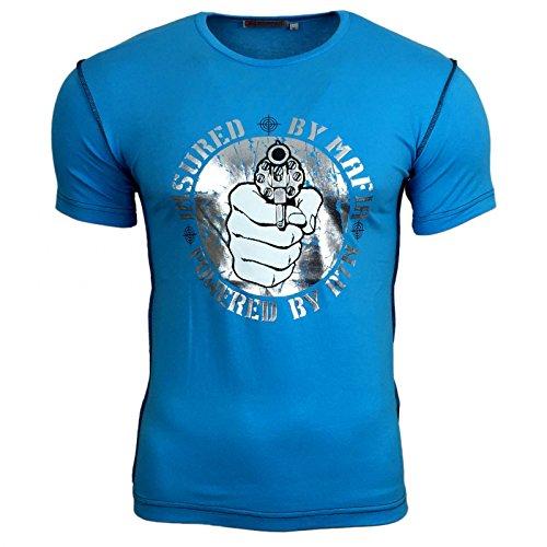 Avroni Print Druck T-Shirt Herren Knopf Kurzarm Rundhals Blau A11643, Größe:L, Farbe:Türkis