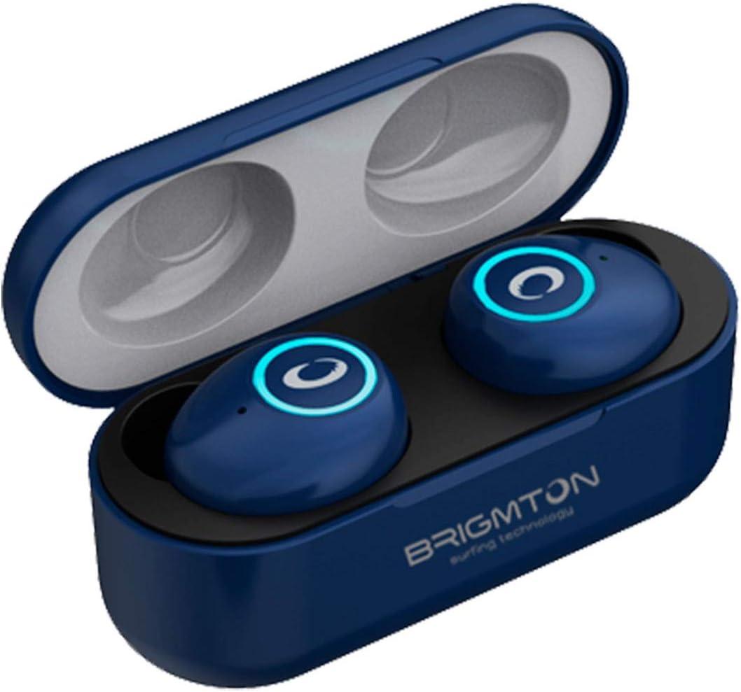BRIGMTON BML-16 Azul Auriculares INALÁMBRICOS Manos Libres Bluetooth con MICRÓFONO Y Estuche BATERÍA