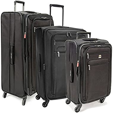 Delsey Helium Sky 2.0 3 Piece Set Spinner Trolley (One Size, Black)