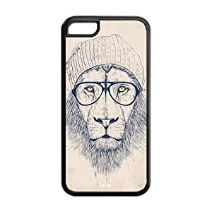 5C Phone Cases, Hipster Lion Hard TPU Rubber Cover Case for iPhone 5C by supermalls
