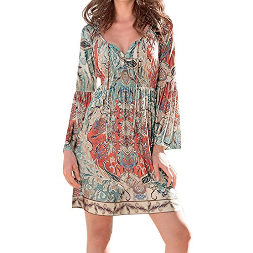 (Willow S Women Bohemian Neck Tie Vintage Printed Ethnic Style Summer Shift Dress Prom Dress Beach)