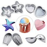 Bath Bomb Molds Metal MelonBoat Metal Bath Bomb Molds Fizzies Set of 4, 2 Shell Shape, 2 Hemispheres, 2 Heart Shape, 2 Starfish Shape, Cake Pan Molds, Aluminum