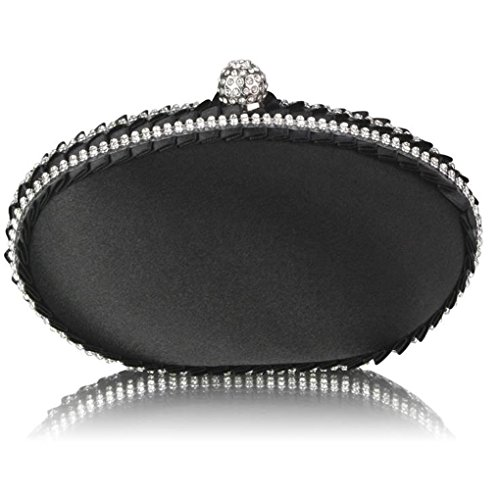 Crystal Night LeahWard Satin BLACK Women's Prom Clutch Clutch Decoration Bag Satin Out With Evening Bag Bridal For Purse CWE0043 TT8fwrxq