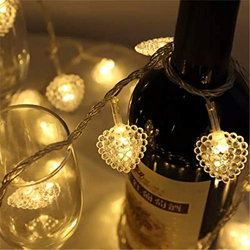 Heart-Shaped String Lights 10 ft 30 LED Waterproof Outdoor Battery Powered Decoration Lights for Garden Path Lawn Patio Yard Christmas and Holiday Festival ()