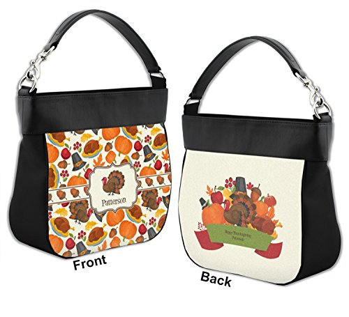 Personalized Leather Back Hobo Front Trim Thanksgiving Traditional Purse Genuine amp; w a4q6W