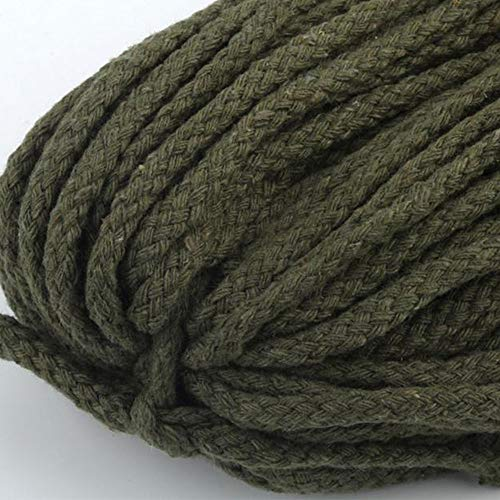 Olive 5mm 1Roll 90 Meters Natural Cotton Rope,Hollow Eight Strands Cotton Rope,Caft Supplies,Macrame,Weave Cotton Rop ()