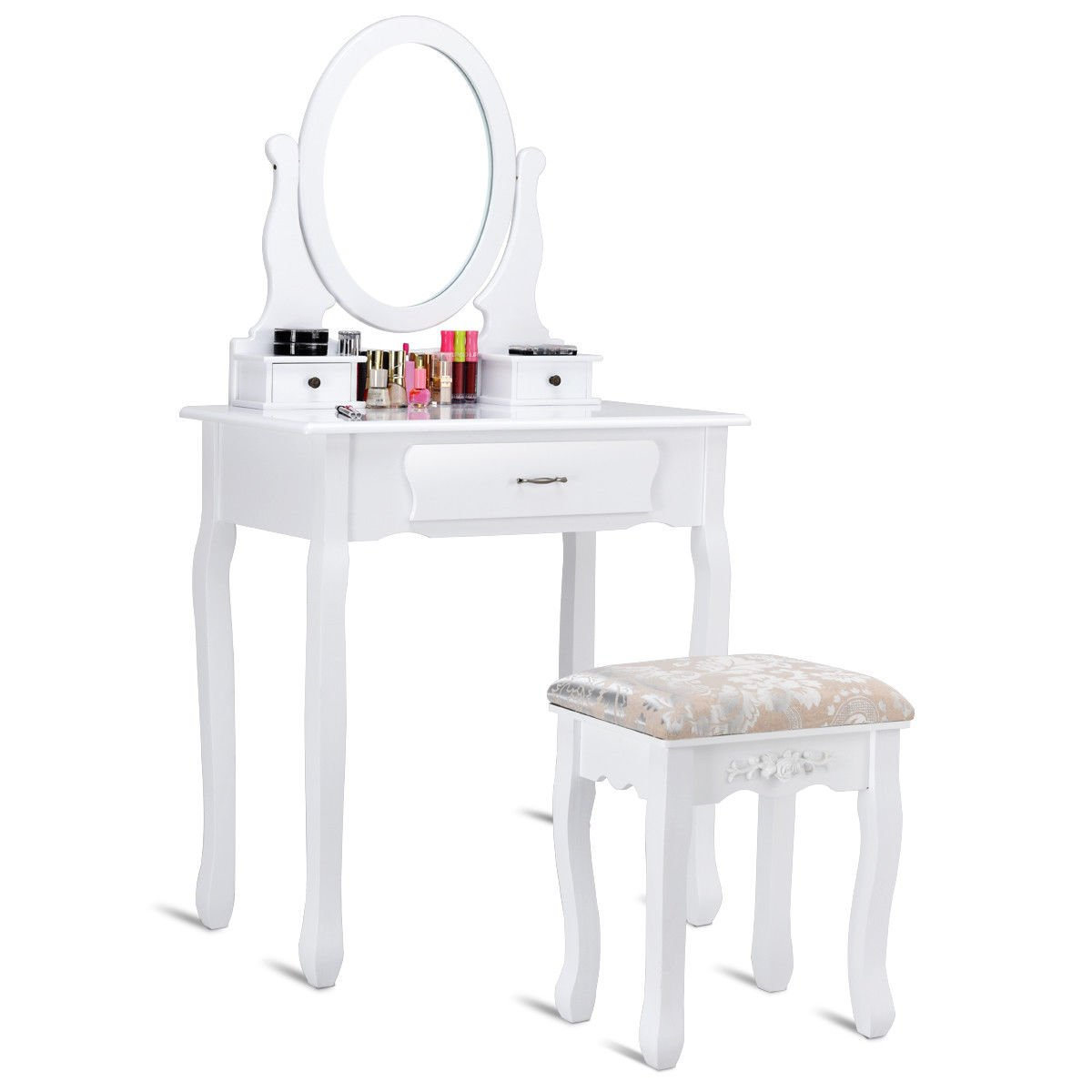 Giantex Vanity Table Set w/Stool Makeup Dressing Collection Table Set Rotatable Round Mirror Wood Jewelry Organizer Multifunctional Desk Easy Assembly White (3 Drawers)