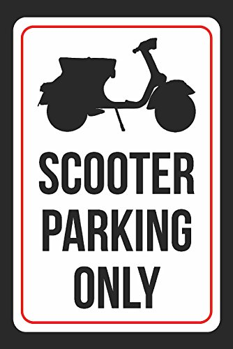 Scooter Parking Only Print Black and White Plastic Black Picture Symbol Large Sign - 1 Pack of Signs, 12x18 ()