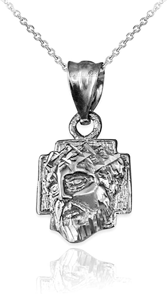 LA BLINGZ 14K White Gold Tiny Jesus Face Cross DC Necklace