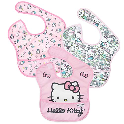 Bumkins Hello Kitty SuperBib, Baby Bib, Waterproof, Washable, Stain & Odor Resistant, 6-24 Months, 3 Pack