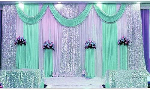 Wedding Background Curtain Blue Wedding Swags 3 6m Sequin Wedding Backdrop Curtain with Swag Decoration Romantic Ice Red Sequin Backdrop Ivory Wedding Backdrop