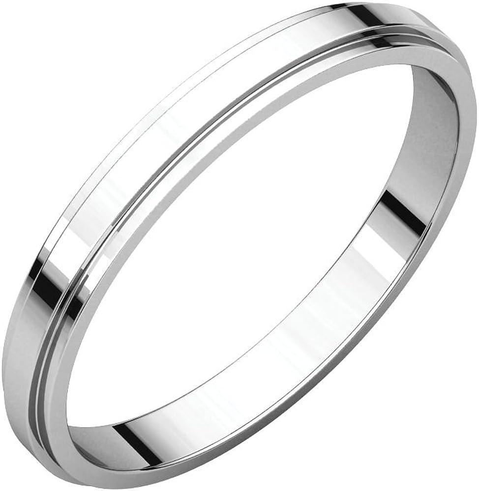 Bonyak Jewelry 14k White Gold 2.5 mm Flat Edge Band Size 14.5