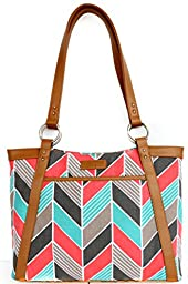 Kailo Chic Pleated Laptop Tote - Coral and Turquoise Chevron