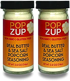product image for Real Butter & Sea Salt by Popzup- Addicting Taste, Pure & Simple Ingredients (No Colors, Flavors, or Fake Anything), Gluten-Free, Non-GMO, Make Buttery Popcorn & More, Stay-Fresh Glass Shaker Jar