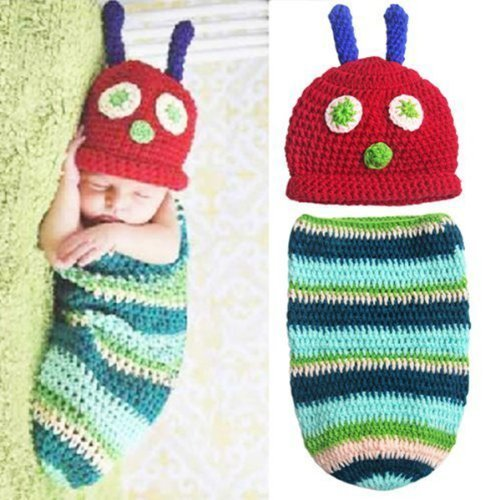 Foxnovo Cute Caterpillar Style Baby Infant Newborn Handmade Crochet Beanie Hat Clothes Baby Photograph Props by Foxnovo