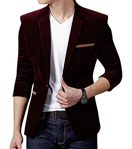 CELINO Men's Skinny Solid Color Contrast Pipe 1 Button Closure Corduroy Blazer, (Button Closure Blazer)