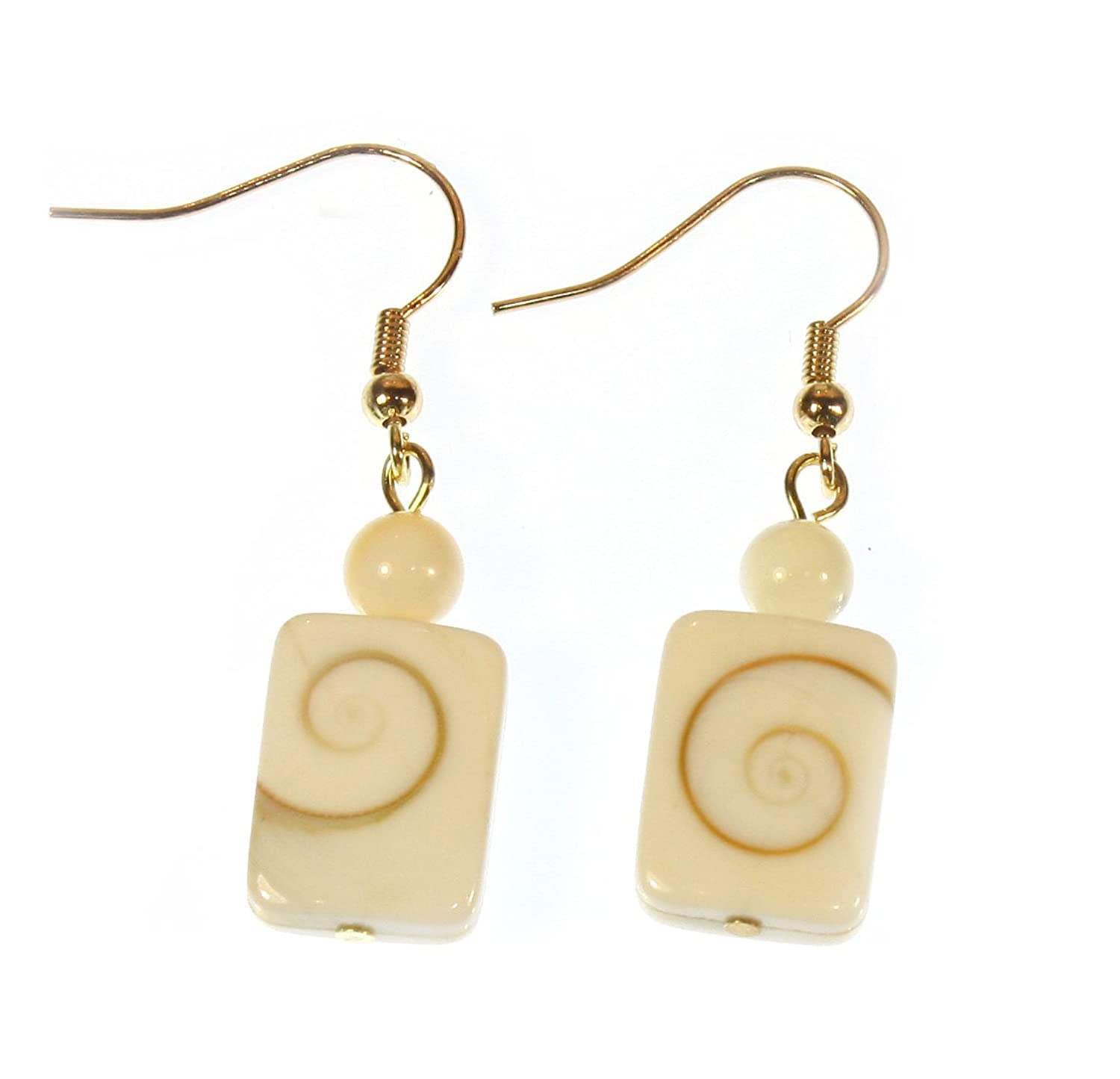 """""""Never Ending"""" Spiral in a Shell Earrings, Dangle 1.5 Inches"""