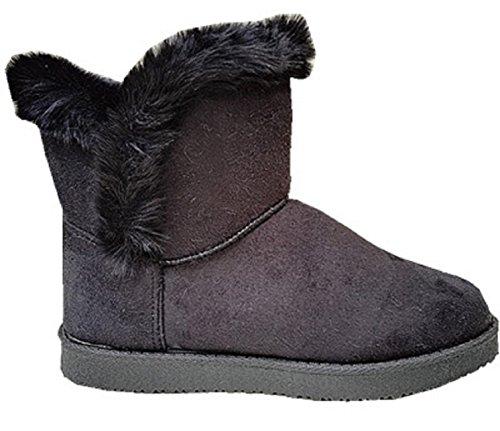 Femme Fille Botte Boots Bottine Chaussure fourrées fur Plat Talon JR911 NOIR