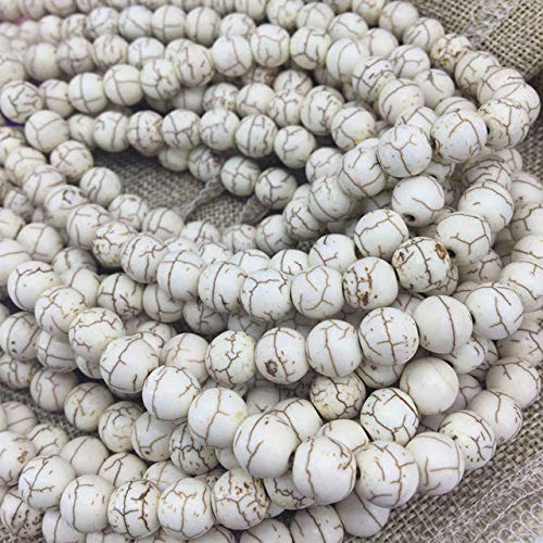Calvas 8 Color 4mm 6mm 8mm 10mm 12mm 14mm Synthetic Calaite turquoises Stone Round Loose Beads Elegant Jewelry findings 15inch B286 - (Color: White, Item Diameter: 6mm)