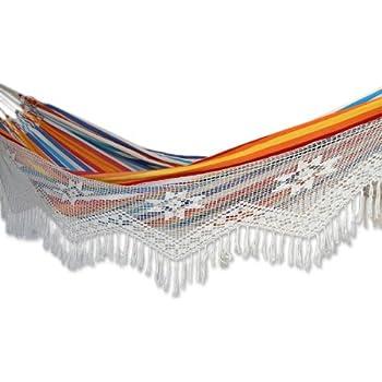 novica multi color striped cotton 2 person hand woven hammock with crochet fringe  u0027 amazon     xl brazilian fabric hammock with fringe   garden      rh   amazon