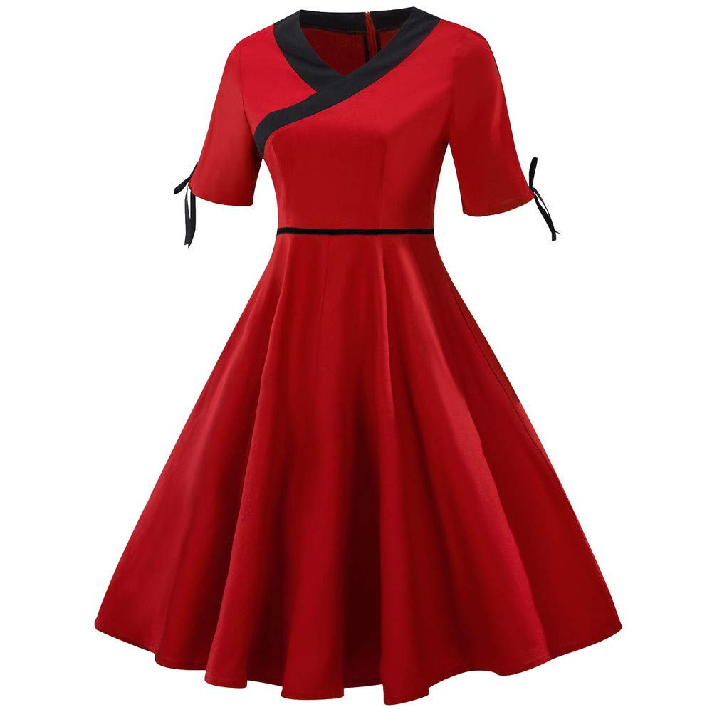 Women Retro Flare Dress Clearance Sale, NDGDA Plus Size Short Sleeve Vintage Bow Dress by NDGDA Women Dress