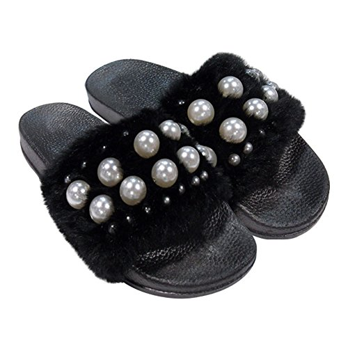 Clearance Sale Black Furry Pearl Wide Band Toeless Sandal Flat Heel Ver Zapatos Suecos de Mujer Beautiful Flip Flop Fuzzy Slide Trendy Summer Heeled Slipper Slide for Women Teen Girl (Size 8, Black) by TravelNut (Image #4)