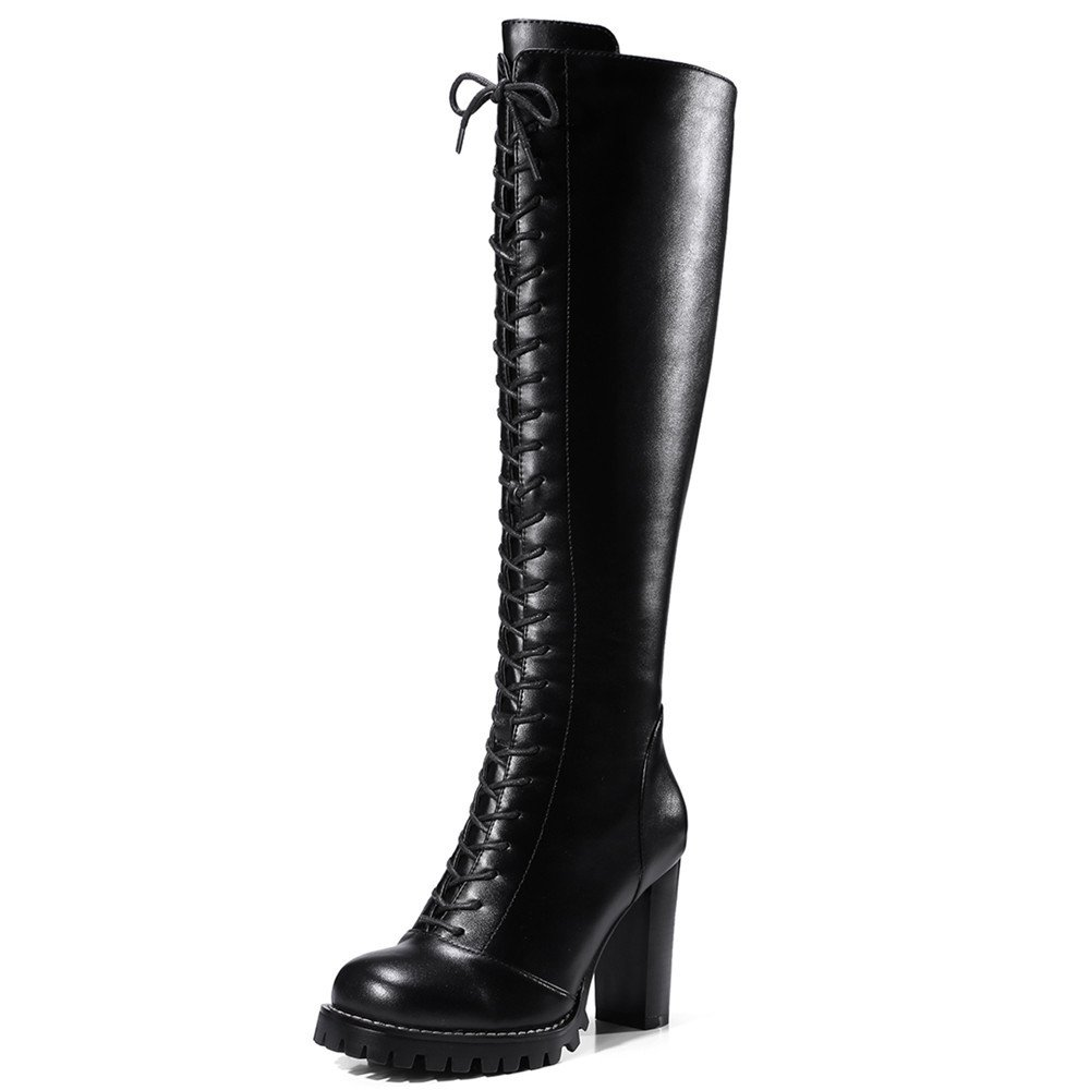 Nine Seven Genuine Leather Women's Round Toe Chunky Heel Lace Up Style Handmade Knee High Boots (5.5, black)