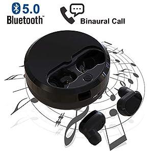 Cuffie Bluetooth V5.0 Auricolari Senza Fili, In-Ear Chiamata binaurale Auricolare Wireless (nero) 6 spesavip